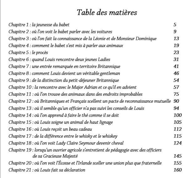Table des matières livre les chevaux, le babet et la jeune Lady Jean Dominique ZANUS